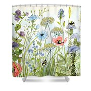 Wildflower And Bees Shower Curtain