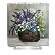 Wildflower Basket Acrylic Painting A61318 Shower Curtain