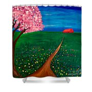 Wildflower Country Road Shower Curtain