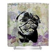 Wildflower Pug Shower Curtain