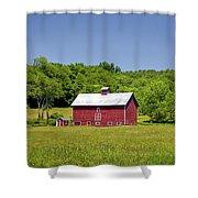 Wildflowers Barn Shower Curtain