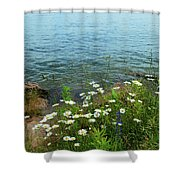 Wildflowers By The Lake  Shower Curtain