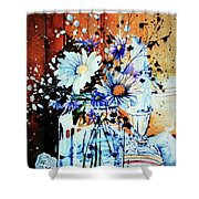 Wildflowers In A Mason Jar Shower Curtain