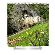 Wildflowers On Hillside At Predjama Castle 1570 Renaissance Fort Shower Curtain