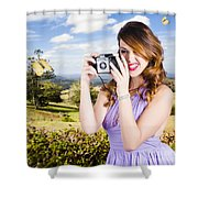 Wildlife Photographer Shooting Insects And Nature Shower Curtain