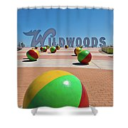 Wildwood's Sign, Wildwood, Nj Boardwalk . Copyright Aladdin Color Inc. Shower Curtain