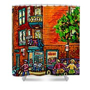 Wilensky Diner Little League Expo Kids Baseball Painting Montreal Scene Canadian Art Carole Spandau  Shower Curtain