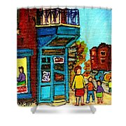 Wilensky's Counter With School Bus Montreal Street Scene Shower Curtain