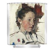 Wilhelm Leibl 1844 - 1900 German Bauernmadchen Farm Girl Shower Curtain