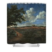 Wilhelm Von Bemmel A Panoramic View Of Nuremburg With Riders In The Foreground Shower Curtain
