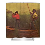 Will Schuster And A Black 1876 Shower Curtain