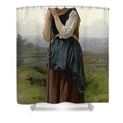 William Bouguereau 1825-1905 French Petite Bergere Shower Curtain