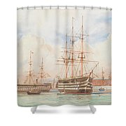 William Edward Atkins H.m.s. Victory And H.m.s. Duke Of Wellington In Portsmouth Harbour With An Ind Shower Curtain
