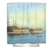 William Frederick Mitchell , H.m.s. Excellent And H.m.s. Calcutta In Portsmouth Harbour, 1897 Shower Curtain