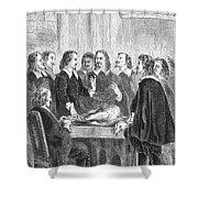 William Harvey Explaining Blood Shower Curtain