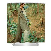 William Henry Margetson, Woman In A Spring Landscape. Shower Curtain