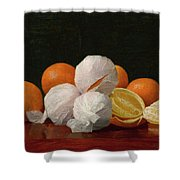 William J. Mccloskey 1859 - 1941 Untitled Wrapped Oranges Shower Curtain