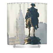 William Penn And George Washington - Philadelphia Shower Curtain by Bill Cannon