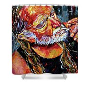Willie Nelson Booger Red Shower Curtain by Debra Hurd