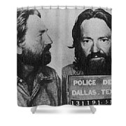 Willie Nelson Mug Shot Horizontal Black And White Shower Curtain