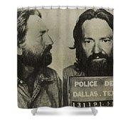 Willie Nelson Mug Shot Horizontal Sepia Shower Curtain