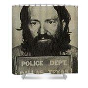 Willie Nelson Mug Shot Vertical Sepia Shower Curtain
