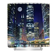 Willis Tower And Moon Shower Curtain