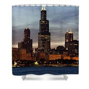 Willis Tower At Dusk Aka Sears Tower Shower Curtain