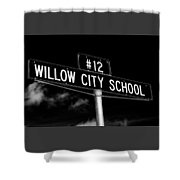 Willow City School Sign Shower Curtain
