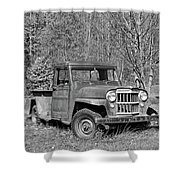 Willys Jeep Pickup Truck Monochrome Shower Curtain