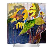 Wind Blown Sunflowers Shower Curtain