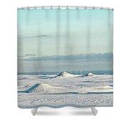 Wind Farm On Frozen Erie Shower Curtain