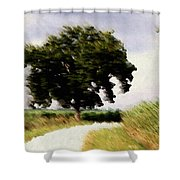 Wind Motif Old Dam Road Shower Curtain