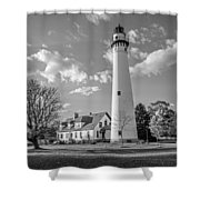 Wind Point Lighthouse And  Old Coast Guard Keepers Quarters  3 Shower Curtain