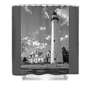 Wind Point Lighthouse And  Old Coast Guard Keepers Quarters.   Black And White Shower Curtain