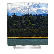 Wind Surfing Mt. Hood Shower Curtain