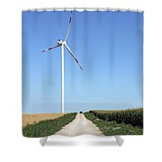 Wind Turbine On Field With Country Road Shower Curtain