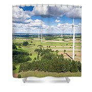 Wind Turbines In Suwalki. Poland. View From Above. Summer Time. Shower Curtain