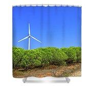 Wind Turbines Landscape Shower Curtain