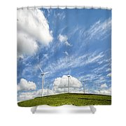 Wind Turbines On A Hill Under A Blue Sky Shower Curtain