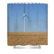 Wind Turbines On Wheat Field Summer Season Shower Curtain
