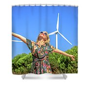 Wind Turbines Woman Shower Curtain