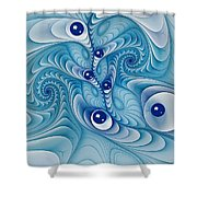 Wind Up Marble Works  Shower Curtain