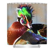 Windblown Wood Duck Shower Curtain