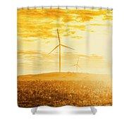 Windfarm Sunset Shower Curtain