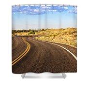 Winding Desert Road At Sunset Shower Curtain