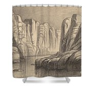 Winding River Through A Rock Formation (philae, Egypt) Shower Curtain