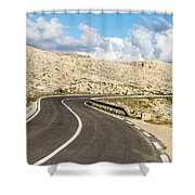 Winding Road On The Pag Island In Croatia Shower Curtain