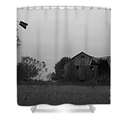Windmill And Barn In Black And White Shower Curtain