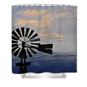 Windmill And Cloud Bank At Sunset Shower Curtain